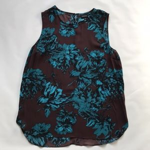 Who What Wear Blue and Burgundy Floral Tank.